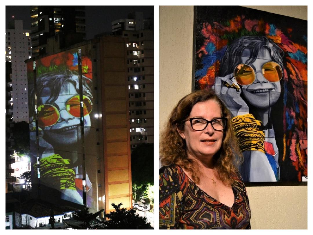 Artista de Curitiba, Bia Ferreira, tem suas obras projetadas nos prédios em Belém do Pará