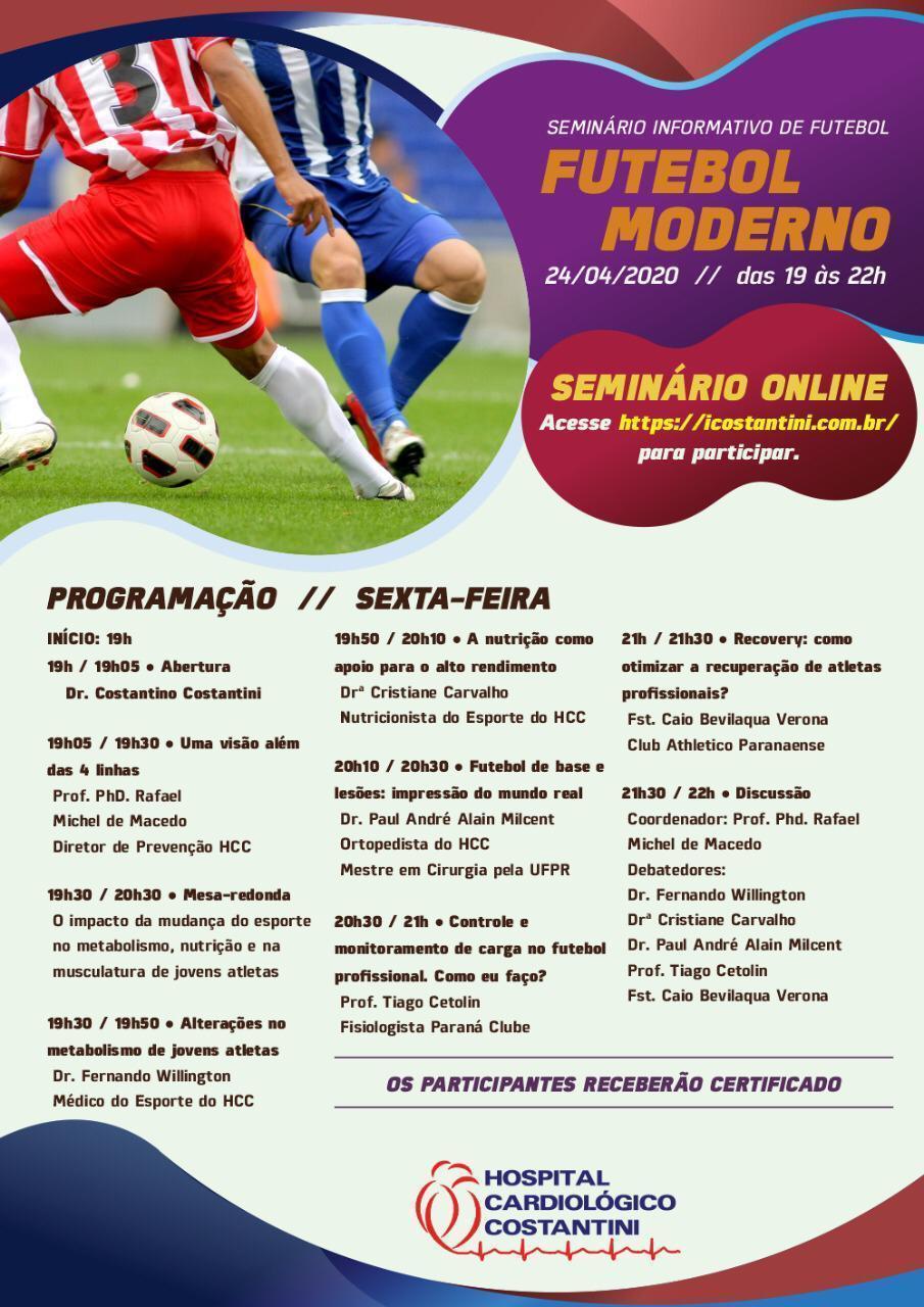 Agenda: Hospital Cardiológico Costantini realiza evento gratuito e online sobre Futebol Moderno