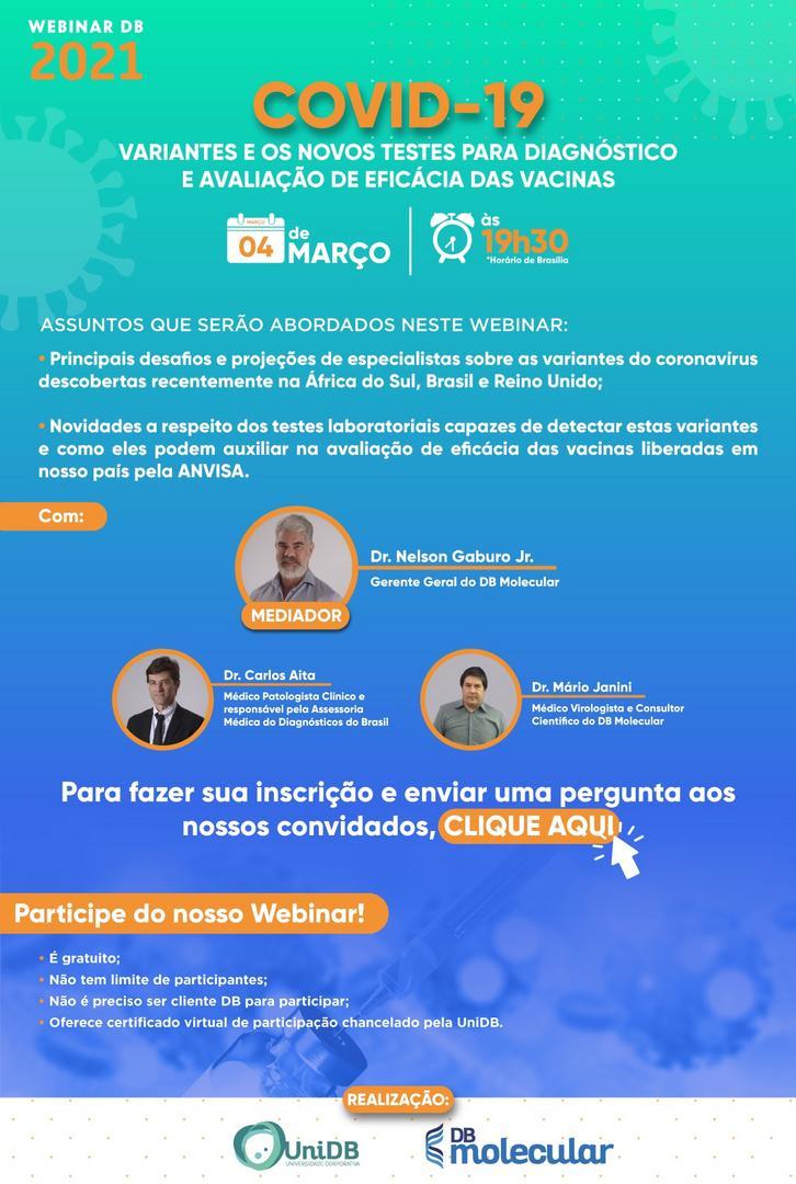 Diagnósticos do Brasil realiza Webinar sobre variantes e novos testes para diagnóstico e eficácia das vacinas