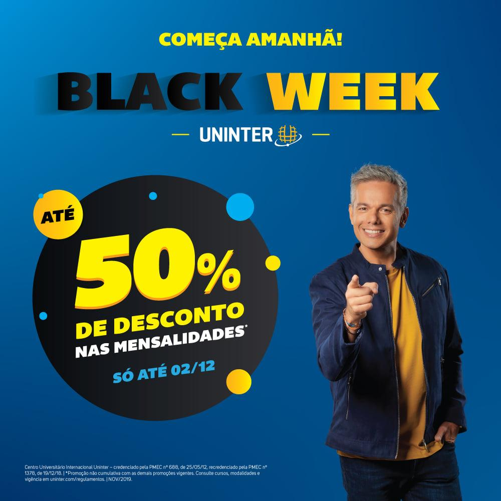 Black Week: Uninter oferece até 50% de desconto nas mensalidades