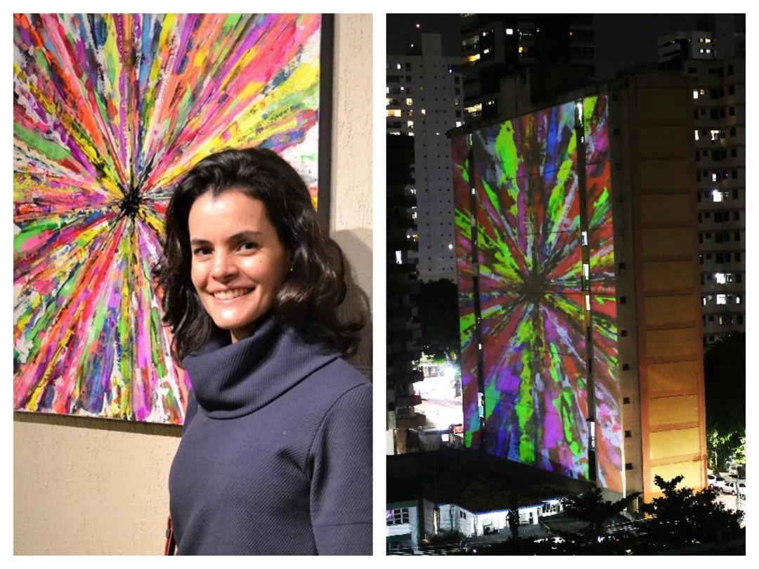 Artista curitibana, Ana Lecticia Mansur, tem obras projetadas nos prédios em Belém do Pará