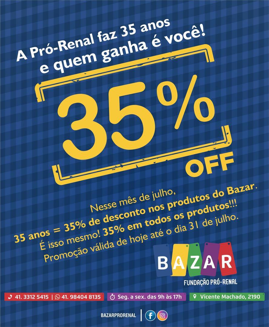 Fundação Pró-Renal promove Bazar Solidário com 35% de desconto