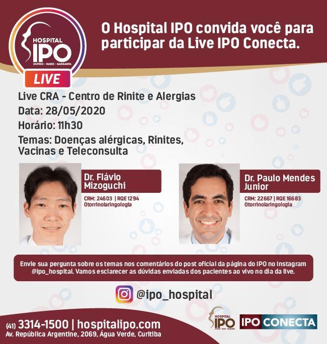 Nova live do Hospital IPO no Instagram responde a perguntas sobre rinite e doenças alérgicas
