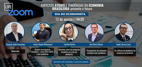 Momento atual e Pós-Pandêmico da Economia serão debatidos por Economistas em Live promovida pelo CoreconPR