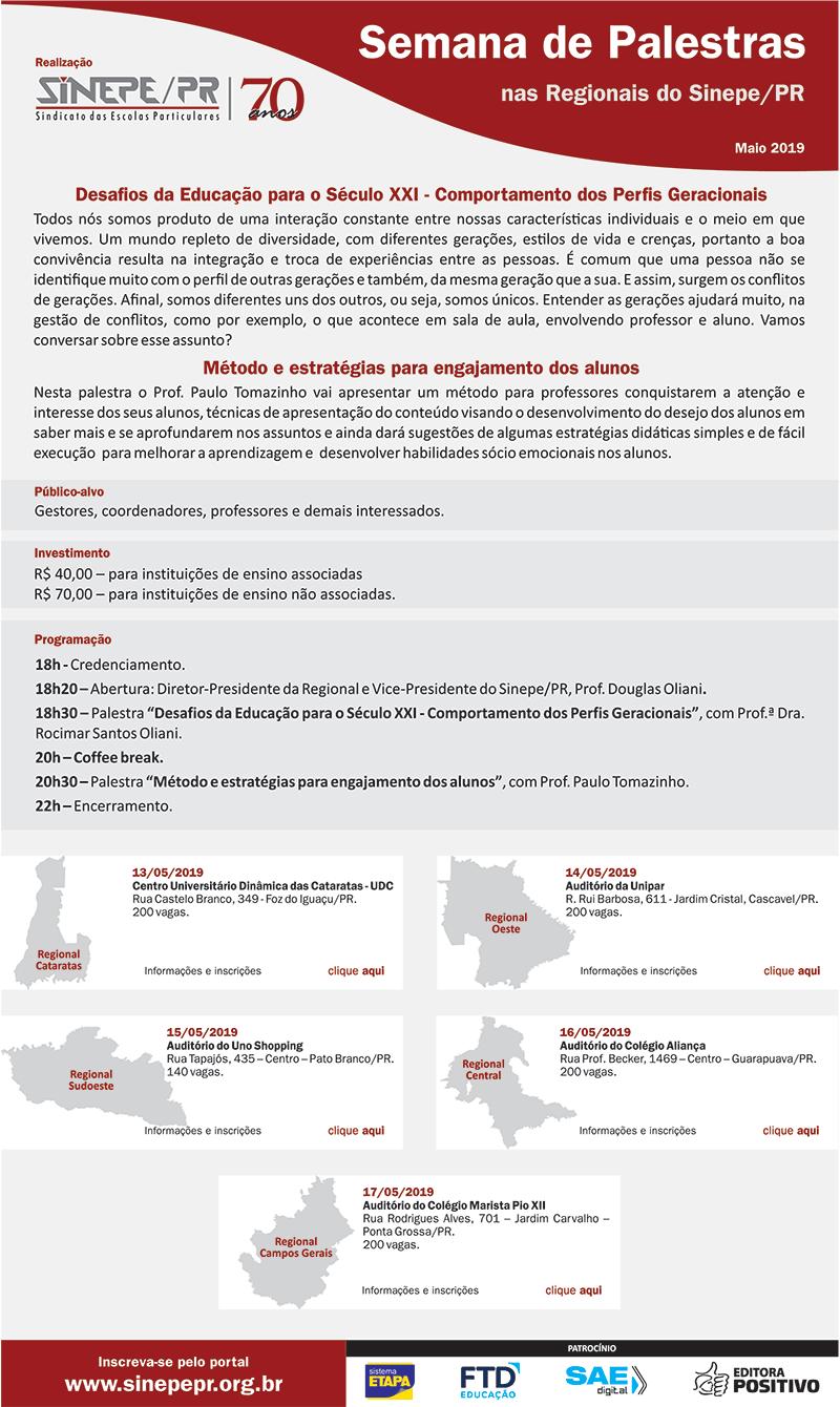 Sinepe/PR promove maratona de palestras sobre os desafios da educação para o século XXI