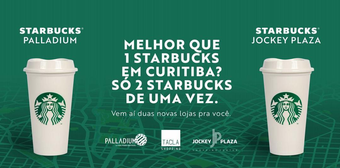 Grupo Tacla anuncia Starbucks nos shoppings Palladium Curitiba e Jockey Plaza