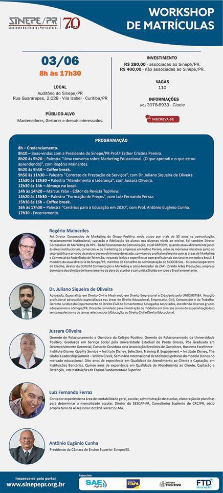 Sinepe/PR promove Workshop de Matrículas 2020