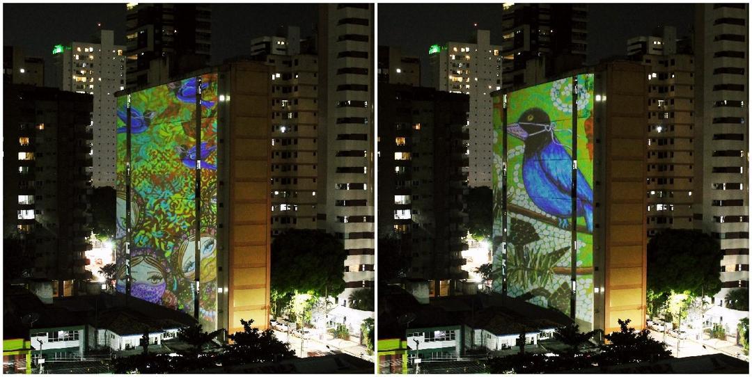 Artista curitibano Eloir Jr., tem obras projetadas nos prédios em Belém do Pará