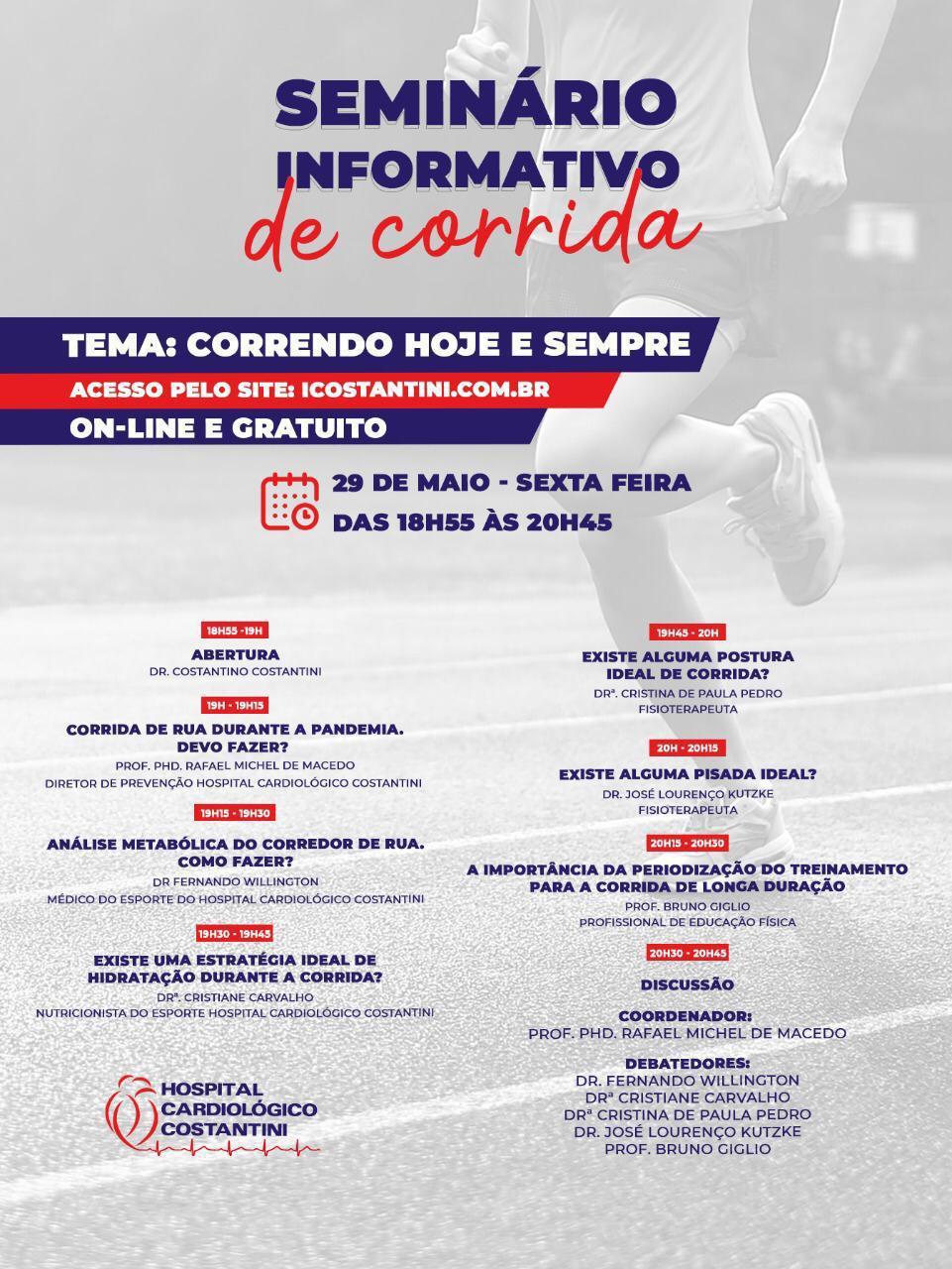 Agenda: Hospital Cardiológico Costantini realiza evento gratuito e on-line sobre Corrida de Rua