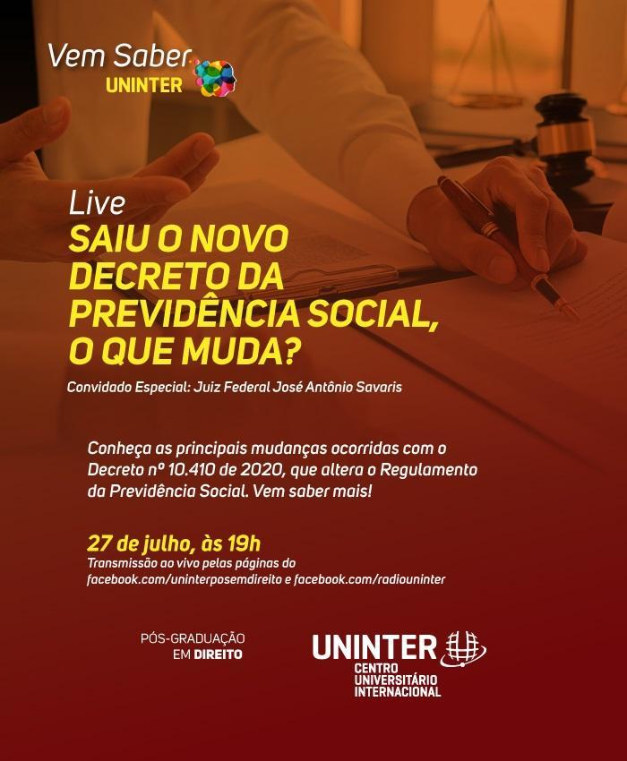Live discute as últimas alterações sofridas pela Previdência Social