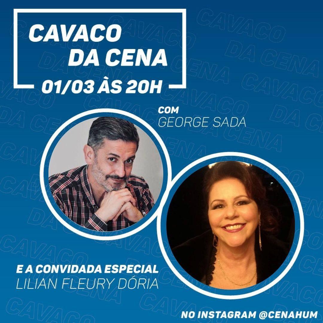 Lilian Fleury Dória conversa com George Sada no Cavaco da Cena