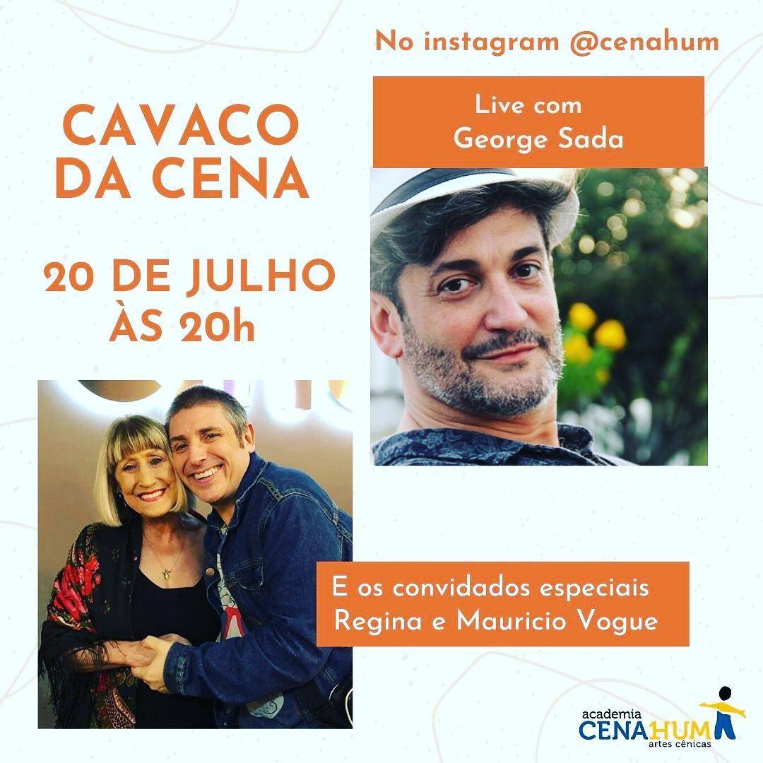 """George Sada conversa com Regina e Maurício Vogue na live """"Cavaco da Cena"""""""
