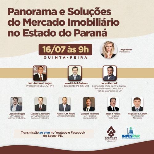 Evento gratuito: Inpespar vai discutir o mercado imobiliário do estado