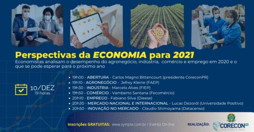 Em evento gratuito, economistas dos principais setores econômicos debatem as perspectivas para 2021