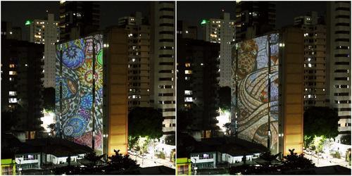 Carla Schwab tem suas tramas e rendas projetadas nos prédios em Belém do Pará
