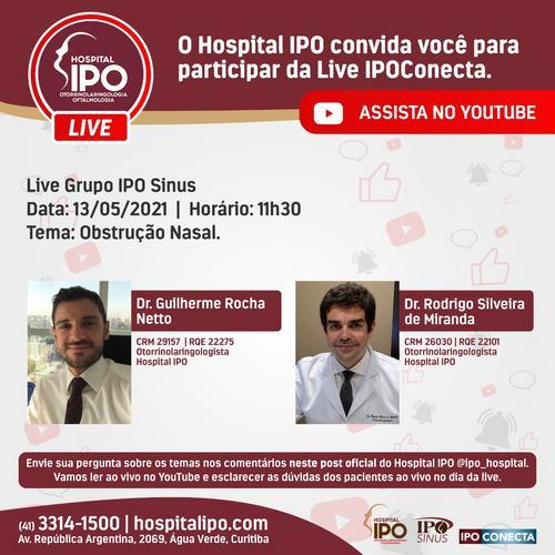 Hospital IPO promove live sobre obstrução nasal