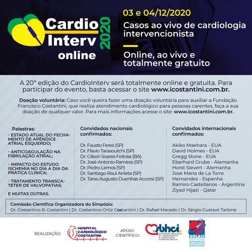 20ª edição do CardioInterv será on-line e gratuita