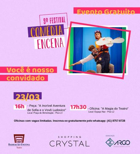 Shopping Crystal tem programação gratuita durante o Festival Comédia EnCena