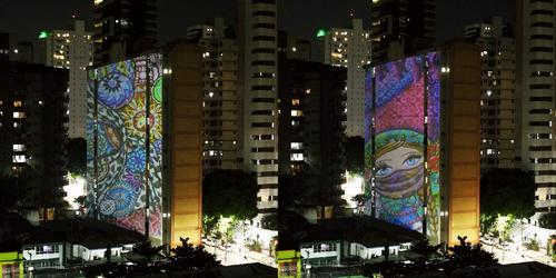 Obras do casal de artistas curitibanos,Carla Schwab e Eloir Jr., são projetadas nos edifícios em Belém do Pará