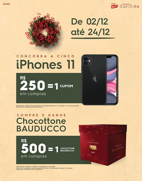 Iphones 11 e chocottones Bauducco fazem parte da campanha de Natal do Shopping Curitiba