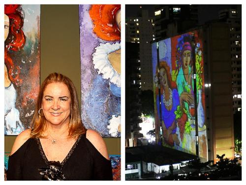 Artista de Curitiba, Tânia Leal, tem suas obras projetadas nos prédios em Belém do Pará